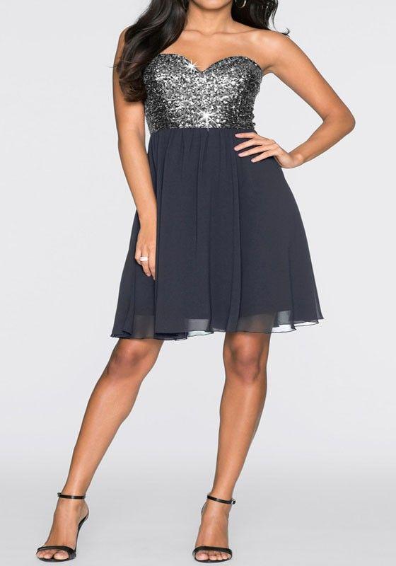 Grau Flickwerk Paillette Bandeaukleider A-Linie aus Schulter Chiffon Tüll Tutu Mini Kleid