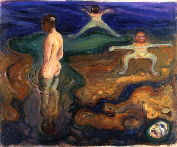 Edvard Munch (Norwegian 1863–1944) [Expressionism, Symbolism] Bathing Boys, 1897-1899.
