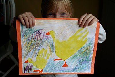 Duck handprints: Hands Prints, Crafts Ideas, Handprint Ducks, Ducks Handprint, Ducky Hands, Kids Crafts, Handprint Calendar, Crafts Theme, Handprint Ideas