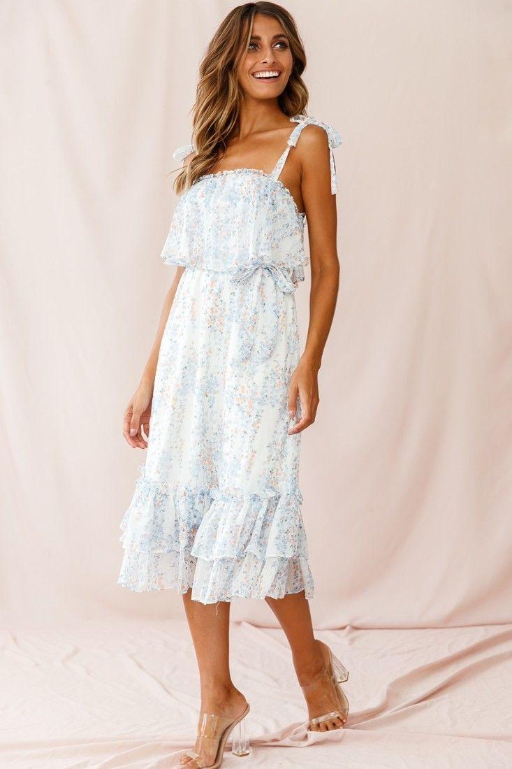 Maeve Shoulder Tie Layered Ruffle Dress White Layered Ruffle Dress White Dress Dresses [ 1100 x 733 Pixel ]