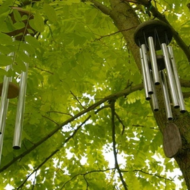 Metal windchimes can add color and sound to your garden.