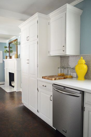 white cabinet color + How To Add Crown Molding To The Top Of Your Cabinets | Young House Love
