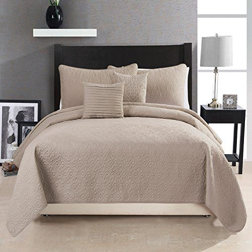 HollyHOME Quilt Set Collection, Solid Lightweight Hypoallergenic Microfiber, 5 Pieces Queen Size Quilt, Taupe