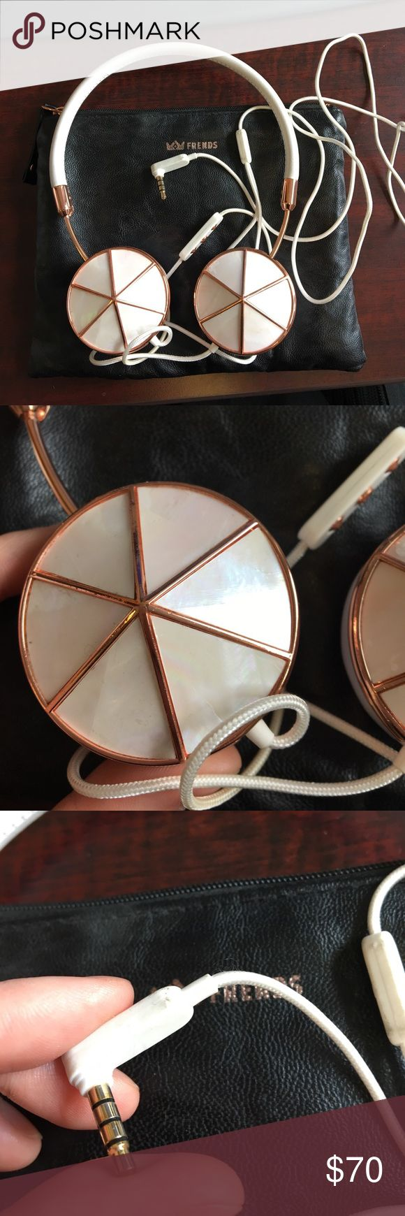 Frends Layla Headphones Rose gold Frends Layla headphones with removable caps. Comes with mother of pearl and plain rose gold caps. In good condition. Pouch included. Frends Accessories