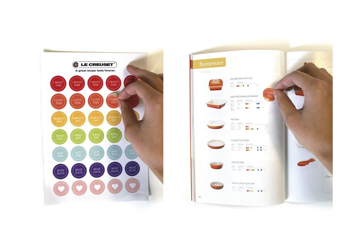 Le Creuset Brochure and Stickers #canvas #design #publication #stickers #lecreuset