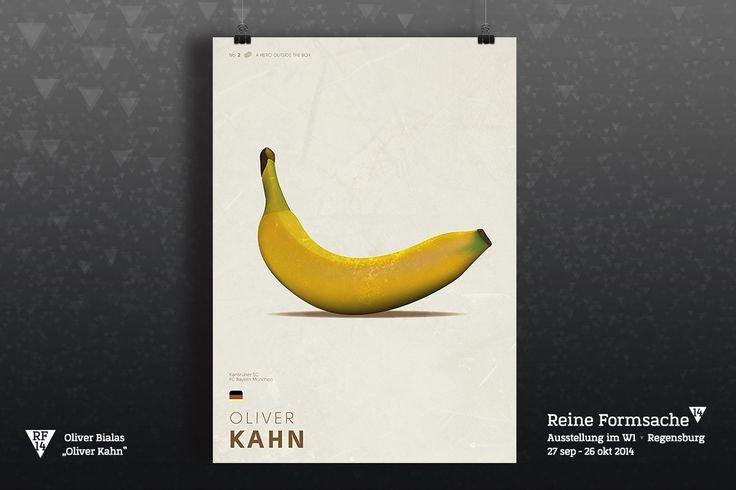 Voller Vorfreude starten wir mit dem Anteasern unserer Ausstellungsstücke. Dieses Mal darf er die Nr.1 sein, die ewige Nr.2 Oliver K. – Titel, Eier und Bananen!  #rf14 #ausstellung #digital #kunst #regensburg #w1 #kugelfisch #oliverkahn #poster #plakat #art