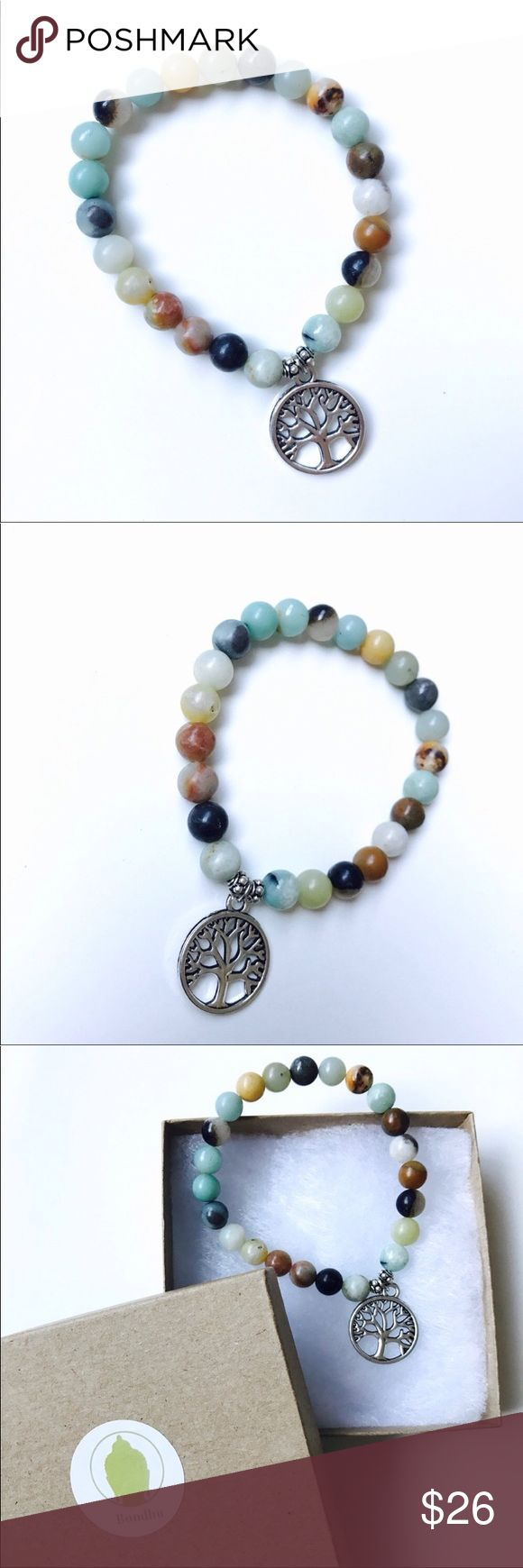 💥HP💥Tree of Life Amazonite Mala Bead Bracelet This beautiful bracelet is made of Amazonite beads which is luck, and has a Tree of Life charm.Tree of Life represents unlimited growth and sacred knowledge.We are all connected parts of the universe.Fair trade, made in India.Comes in a eco-friendly box and jewelry pouch, ready for gift-giving! Bondhu Jewelry Bracelets