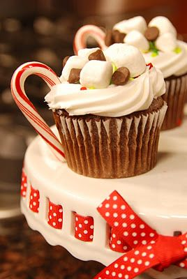 Super Cute for a Christmas party!      Nuttella hot chocolate, cupcakes