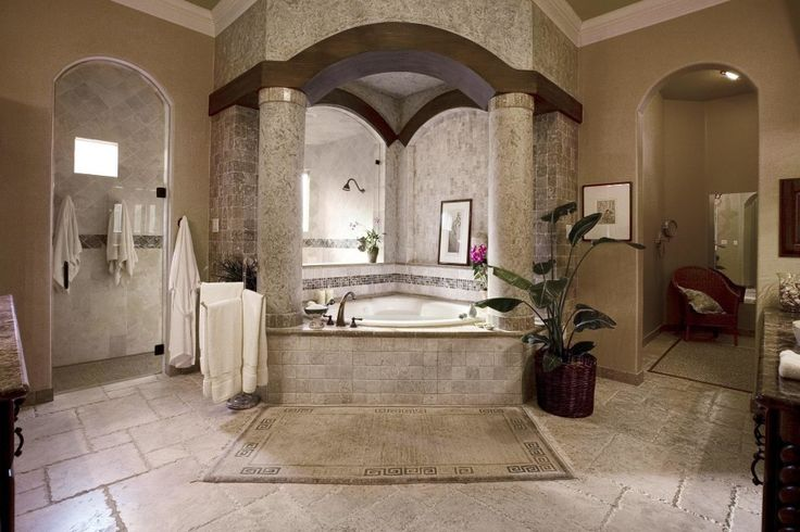 """Shower behind the tub_ """"Interior, White Circle Marble Column Beige Carpet Beige Marble Tile Floor White Triangle Bathtub Light Brown Wall White Marble Tile Wall"""""""