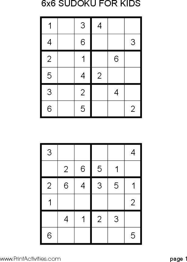 Free Kid Sudoku Puzzle