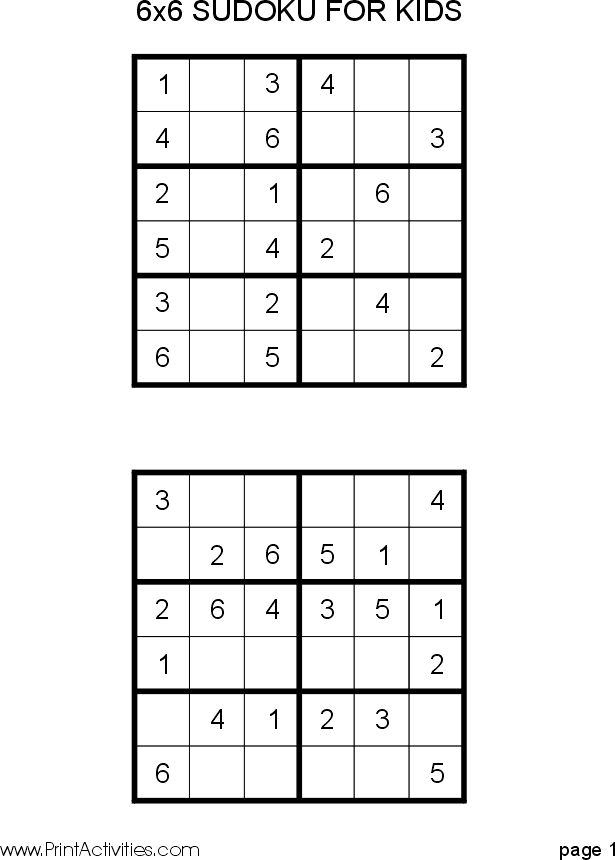 Free Kid Sudoku Puzzle: 6x6 - easy/hard www.printactivities.com