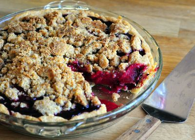 Plum and Blackberry Pie, via Baking Bites, tips from Sherry Yard