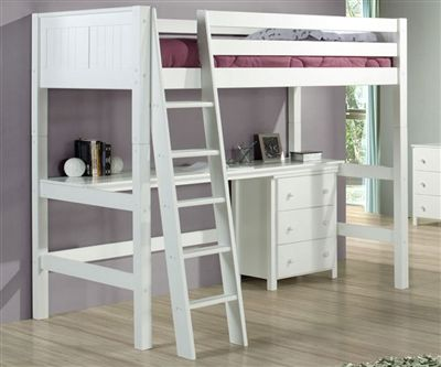 Twin size loft bed with Desk in White Finish by Camaflexi furniture E623D