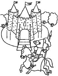 kleurplaat ridder en kasteel kleuters thema ridders