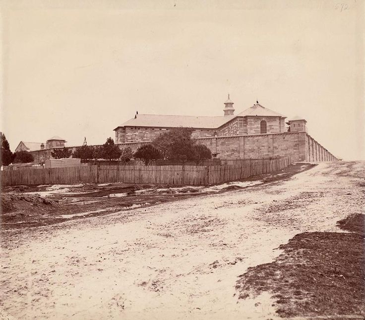 Darlinghurst Gaol from Burton St in Darlinghurst in eastern Sydney in 1870.