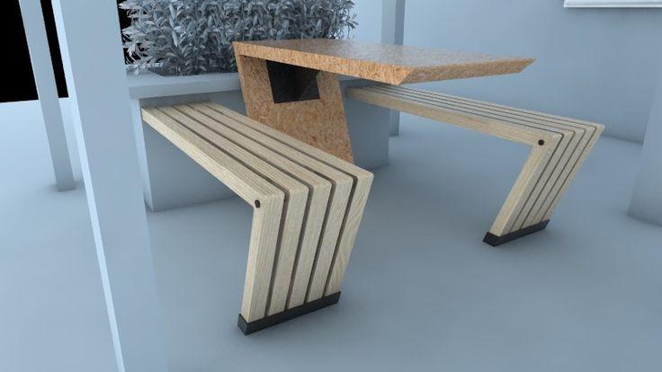 Diseño de banca para exterior, hecha de materiales reutilizados