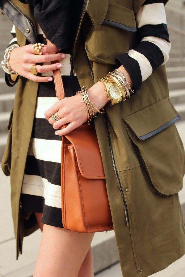 stripe + army green + bangles + leather: Arm Candy, Army Green, Color, Outfit, Black White, Bangles, Stripes, Accessories, Olives