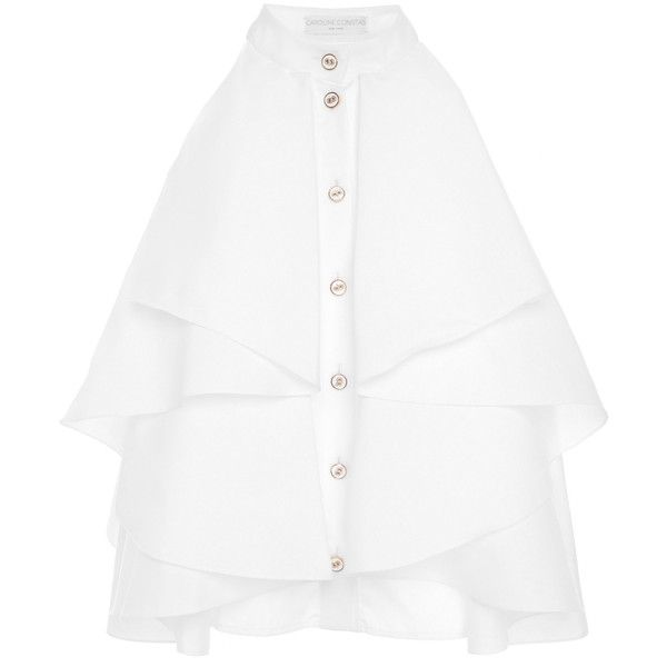 Caroline Constas Adrie High Neck Ruffle Blouse ($395) ❤ liked on Polyvore featuring tops, blouses, white, high neck sleeveless blouse, ruffle top, sleeveless ruffle blouse, white high neck top and sleeveless tops