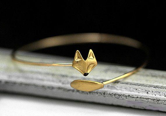 Zarte Hand vergoldeten Fuchs Armreif. Fox und von VillaSorgenfrei
