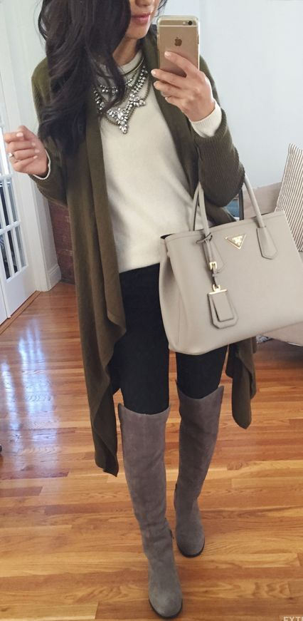 olive cardigan + cram shirt + light gray Prada purse + black pants + gray knee high suede boots