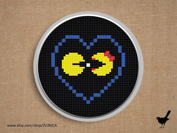 Cross stitch pattern: Pacman Love