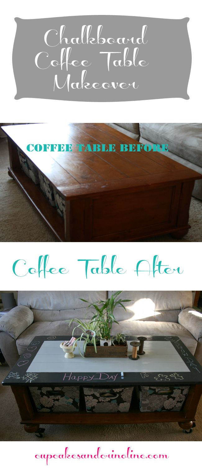 Chalkboard Coffee Table makeover | Cupcakes & Crinoline
