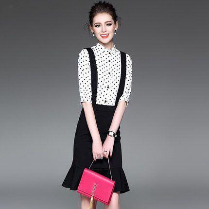 2017 весной новые женщины горошек печать футболки Тонкий пакет хип ремень платье моды костюм