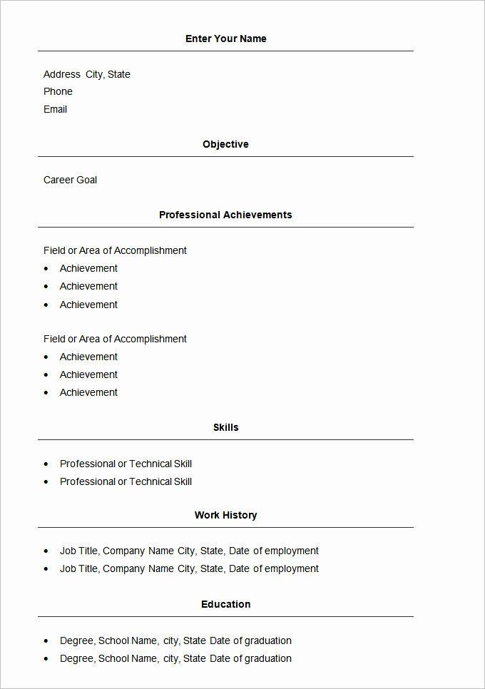 Easy Resume Template Free Lovely Easy Resume Template Basic Resume Simple Resume Template Basic Resume Format