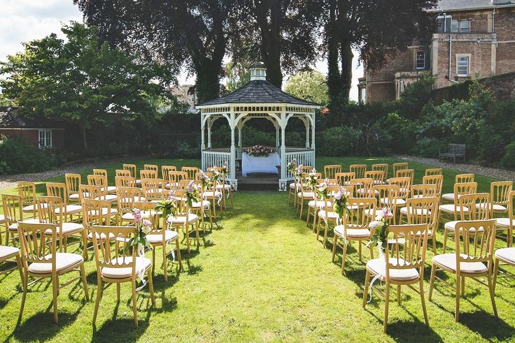 Outdoor garden wedding ceremony styling #gazebo | The Mansion House, Bristol | www.theplanninglounge.co.uk | Image courtesy of http://www.lifeinfocusphotography.co.uk/