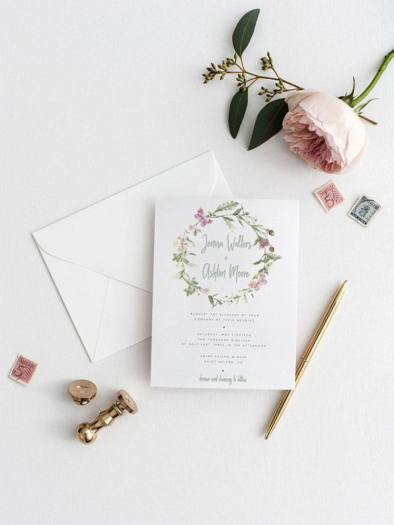 Printable Wedding Invitation Template Floral Wreath Wedding