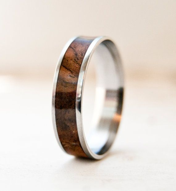 Mens Wedding band Wood and Titanium Ring