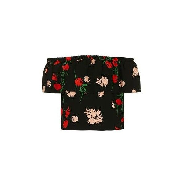 TopShop Petite Pressed Floral Bardot (145 PEN) ❤ liked on Polyvore featuring tops, blouses, shirts, black, flower print blouse, ruffle blouse, flounce top, frilly blouse and floral tops