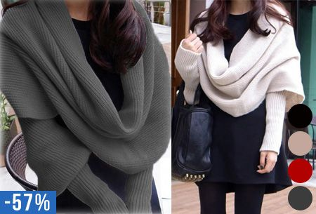 Gebreide bolero sjaal nu slechts €14,95 | Bolero en sjaal in één - heerlijke wintermusthave! #winter #bolero #sjaal #heerlijk #warm