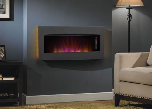 Contemporary Electric Wall Mount Fireplace Space Heater w Remote
