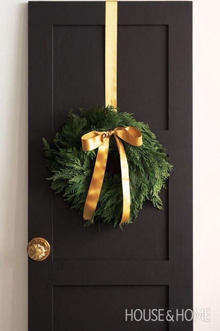 wreath + ribbon