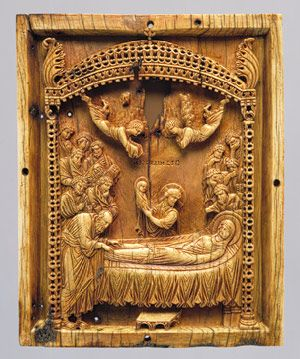 """This artifact is the Icon with the Koimesis (""""Falling Asleep"""") of Virgin Mary which was found in the late 10th century. This image became one of the most popular icons in late Byzantine era. This figure would many times be found on the doors of churches, since they were the first to follow Christian values."""