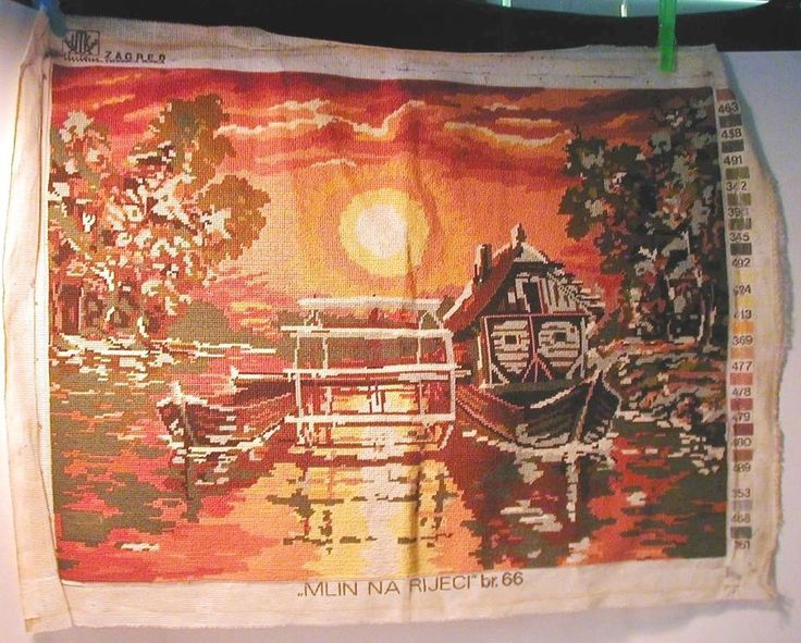 Bosnian Needlepoint Mill on the River Complete 20X14 Thread Factory Zagreb Mlin #Zagreb