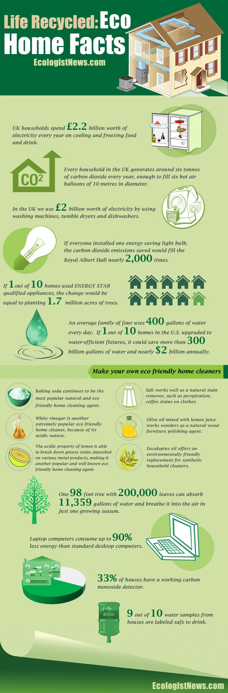 Quick Eco Home Facts - Did you want to make your home more eco friendly? Learn the facts about energy use in the average home. Then get tips to make your home more environmentally friendly, starting with a quick list of natural household cleaners.