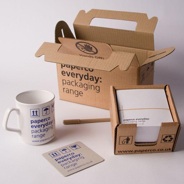 Производитель упаковки Create-This ltd предлагает простую иудобную упаковку длярекламных товаров: кружка, шариковая ручка, бумага длязаписей.  Коробка изгфорокартона соскладной ручкой ивкладывающийся внее лоток сбрендированными листами бумаги. Возле лотка внутри коробки ставится кружка слоготипом. Печать накоробке илотке нанесена водин цвет.  http://am.antech.ru/zjzI