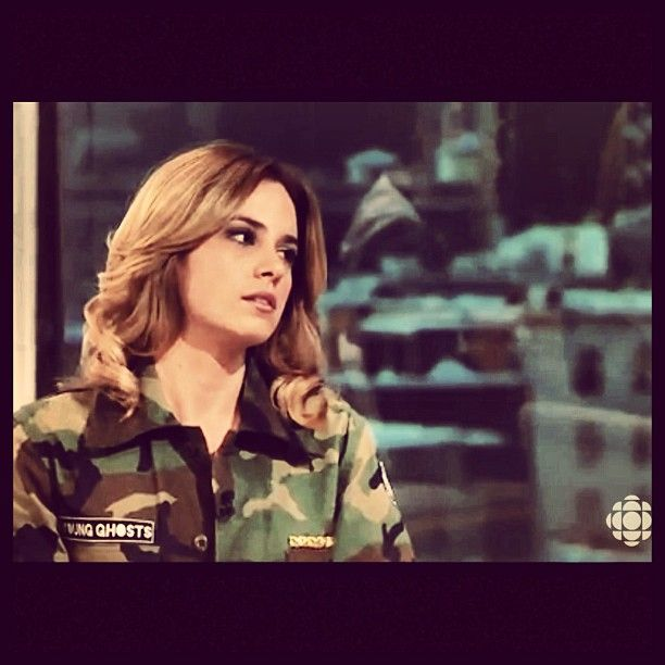 Valerie Roberts from Radio-Canada wearing the Young Ghosts Clothing Special Edition vintage camo jacket
