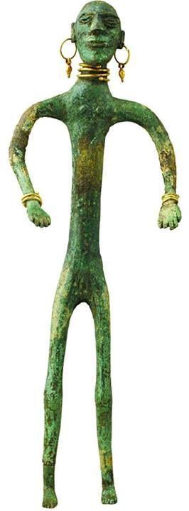 Colchian (southern Caucasus) bronze and gold figurine. Vani, 3rd century BCE, Simon Janashia Museum of Georgia.