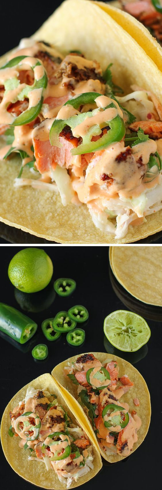 Salmon Tacos with Cilantro-Lime Slaw: a delicious, quick, and simple (low-carb!) weeknight dinner recipe.