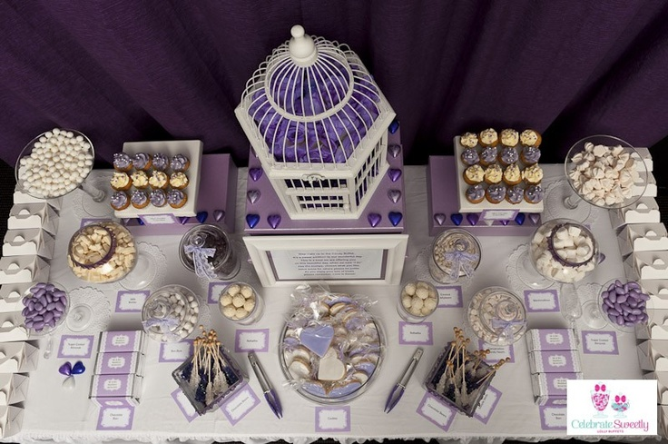 Vintage lilac and lace dessert table / lolly buffet styled by Celebrate Sweetly Lolly Buffets, featuring printable designs by Kristy Gray Designs