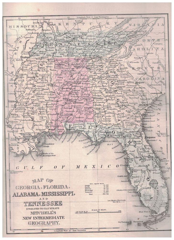 Map Of Georgia Florida And Alabama.Details About 1879 Map Of Georgia Florida Alabama Mississippi And