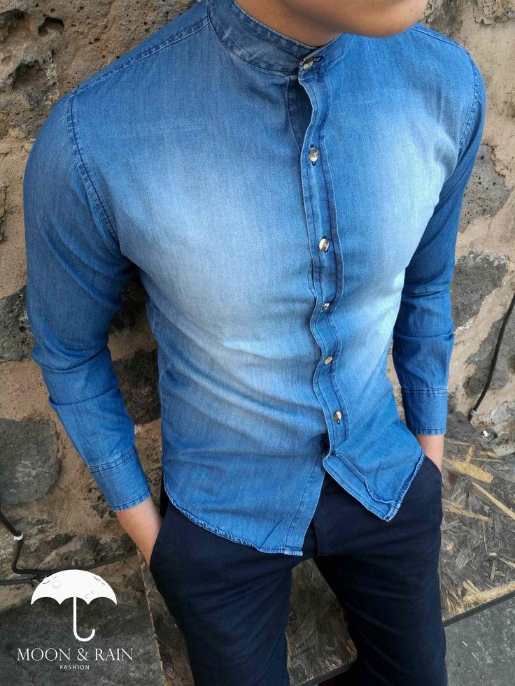Camisa de Mezclilla Deslavada en Cuello Mao para hombre