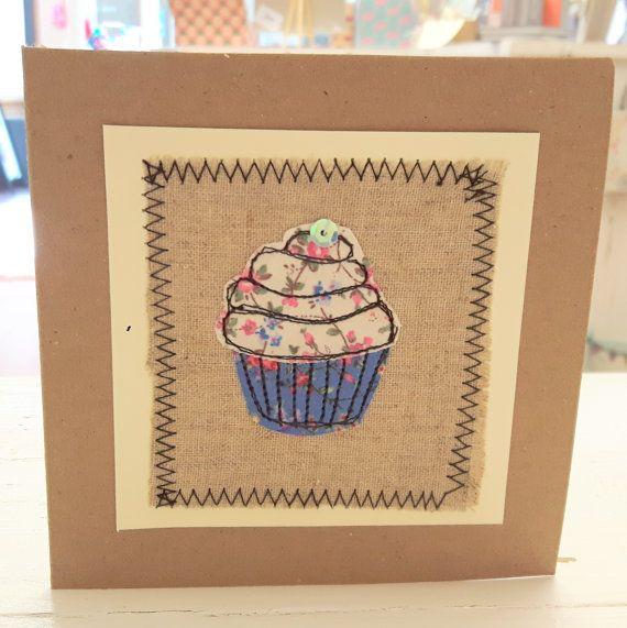 Blue cupcake card - birthday card - handmade card - blank card