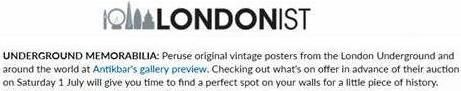 """...find a perfect spot on your walls for a little piece of history..."" Our poster auction and preview featured by Londonist in their Things to do in London review – http://londonist.com/london/things-to-do/things-to-do-today-in-london-wednesday-28-june-2017 Visit https://antikbar.co.uk/antikbar-auctions/ for more information. View our catalogue and register to bid via Live Auctioneers –  https://new.liveauctioneers.com/catalog/104608_vintage-posters-featuring-london-underground/ or The…"