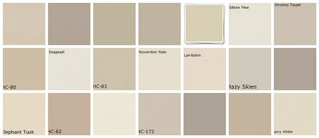 Designers' favorites neutral paint colors. Top row, L-R 1. Ellen Kennon Full Spectrum Paints Mushroom, 2. Ellen Kennon Silt, 3. Farrow & Ball Old White, 4. Farrow & Ball Bone, 5. Pratt & Lambert Silver Blonde, 6. Benjamin Moore Silken Pine, 7. Benjamin Moore Smokey Taupe. Middle row, left to right: 8. Benjamin Moore Bleeker Beige, 9. Benjamin Moore Seapearl, 10. Benjamin Moore Grant Beige, 11.Benjamin Moore November Rain, 12. Benjamin Moore Lambskin, 13. Benjamin Moore Hazy Skies, 14…