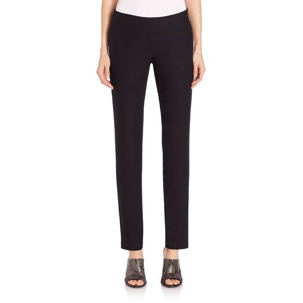 Eileen Fisher Stretch Crepe Pants (250 NZD) ❤ liked on Polyvore featuring pants, apparel & accessories, black, elastic waistband pants, stretch waist pants, eileen fisher, eileen fisher pants and elastic waist pants