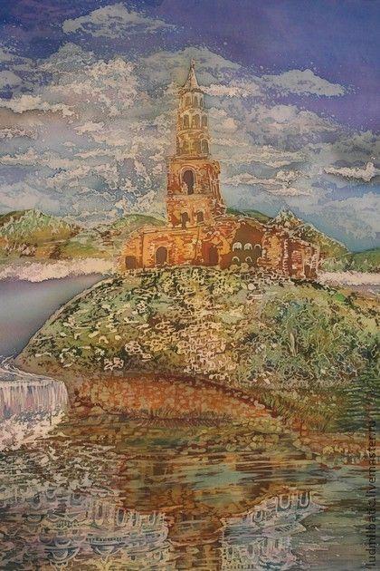 Старая крепость. Картина 'Старая крепость' выполнена на шелке в технике батик. Размеры картины: 90х70. Изображает древний разрушенный город, позже затопленный. Отражение в воде заставляет заглянуть в прошлое. Работа была представлена на…